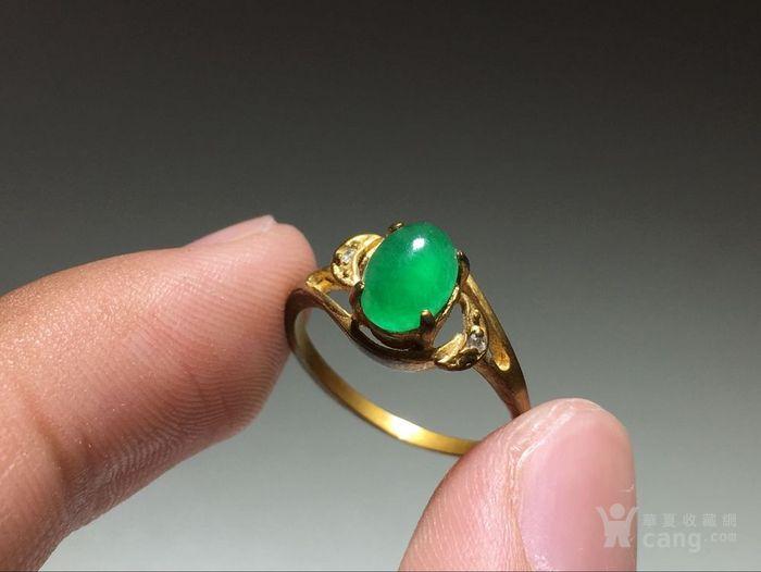 精品 五十年代 冰种满阳绿翡翠戒指 水头荧光都非常图6