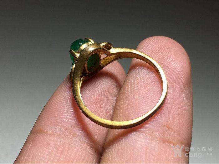 精品 五十年代 冰种满阳绿翡翠戒指 水头荧光都非常图8