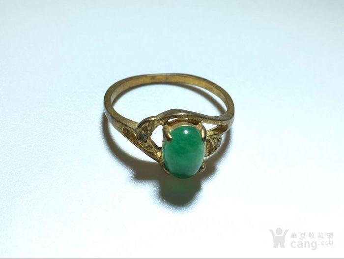精品 五十年代 冰种满阳绿翡翠戒指 水头荧光都非常图1