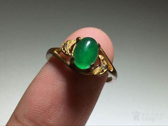 精品 五十年代 冰种满阳绿翡翠戒指 水头荧光都非常图9
