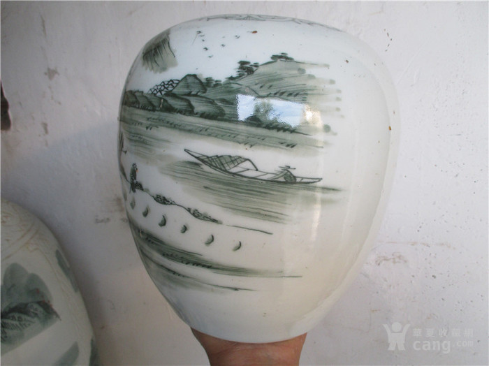 清晚民国釉下翠绿山水醴陵启始罐 全品