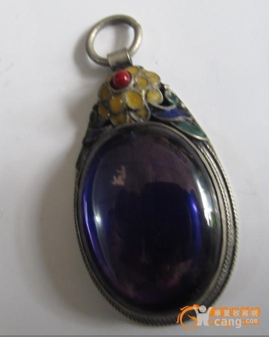 景泰蓝掐丝紫色宝石挂坠