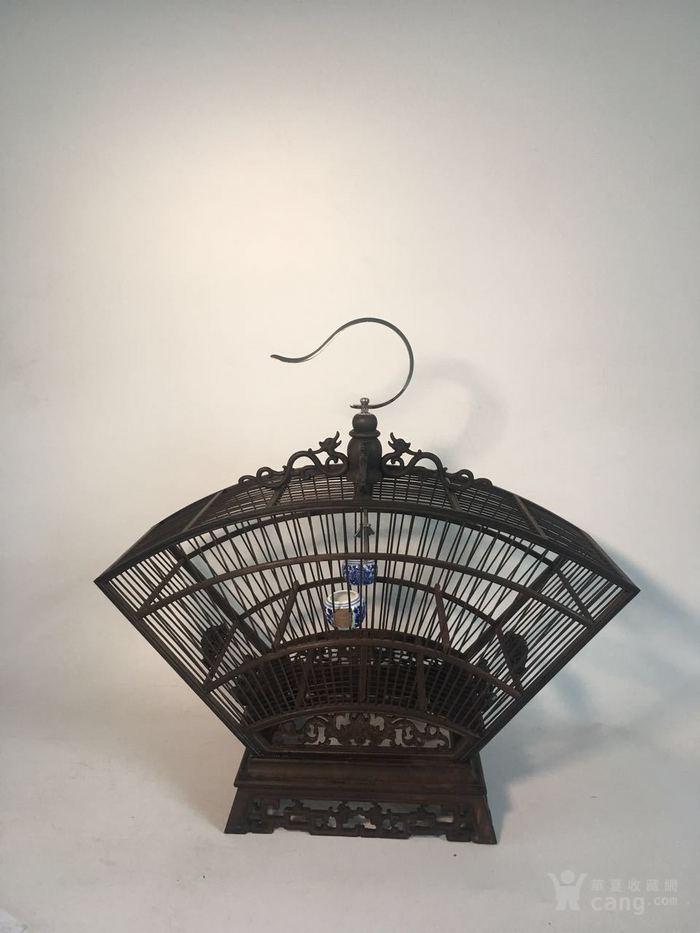 紫檀木雕刻鸟笼,扇形摆设鸟具
