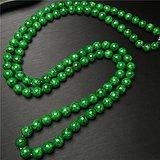 玉泉文玩 U509创汇期老坑豆种满辣绿翡翠108佛珠项链