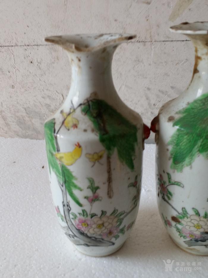 一对柳树黄莺瓶