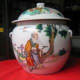 民国瓷绘名家镇和祥作品粉彩人物纹大号粥罐 包老