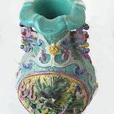 民国双龙戏珠立塑葵口瓶