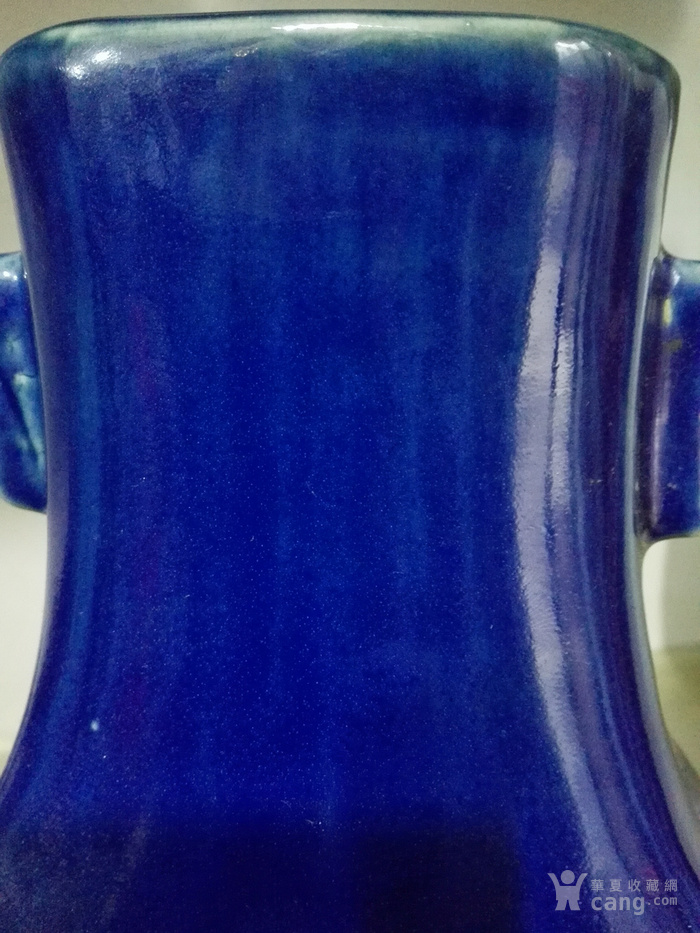祭蓝釉贯耳瓶