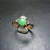 香港回流 八九十年代玫瑰银镶水钻镶A货满绿翡翠大戒指