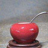 清代红釉水盂