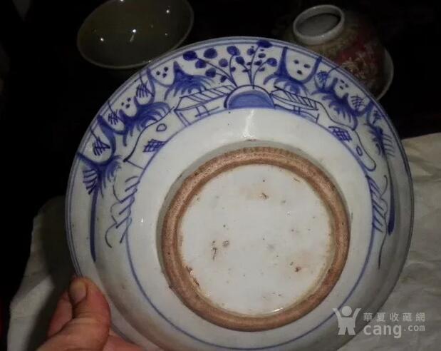 老青花折沿碗