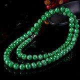 香港回流 天然A货满阳绿翡翠珠子项链