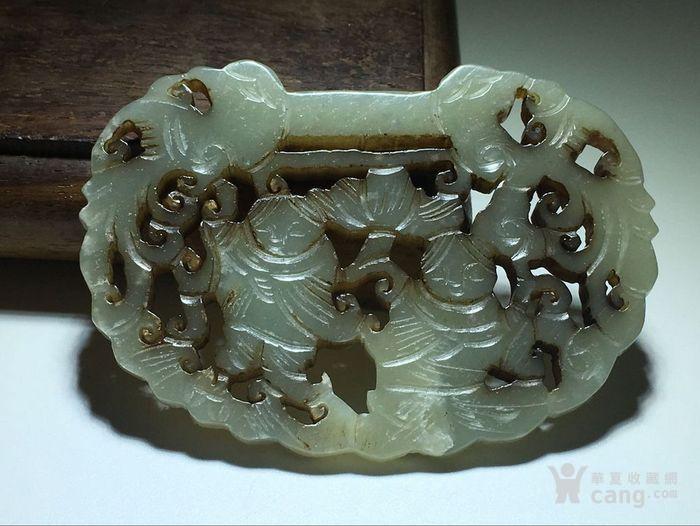 描述:清 和田玉 合合二仙 大玉锁 手工雕刻图8