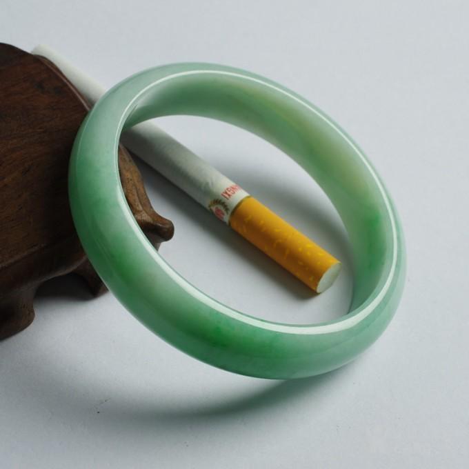 浅绿翡翠正圈平安手镯 57mm  19TU10图4