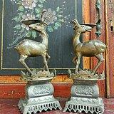 597 锡器鹿造型锡腊烛台灯具老物件