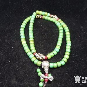 代绿松石。玛瑙佛珠。