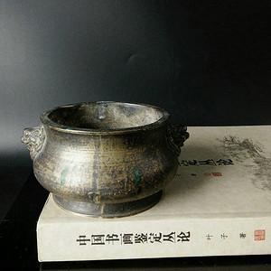清代晚期 大明宣德年制款双狮耳铜香炉 狮耳琴炉