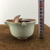 开片蓝釉茶壶杯A1559