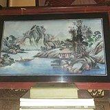 民国山水纹玻璃画挂屏