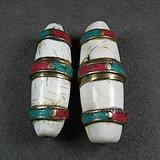 老藏传佛教砗磲镶宝大长勒子两枚