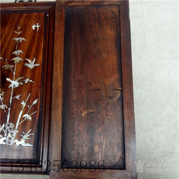 木雕黄杨木梅兰竹菊屏风 螺钿镶嵌 古玩雕刻工艺品精雕木制
