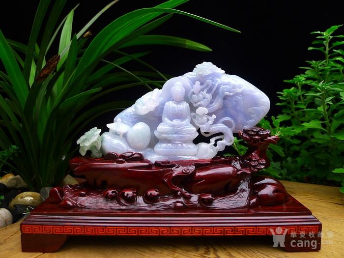 缅甸天然A货老坑冰种紫罗兰佛祖大师级雕工翡翠玉摆件精品
