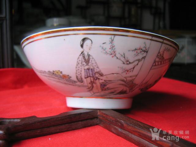 民国早期瓷绘名家余远生作品粉彩仕女人物纹大碗 包老