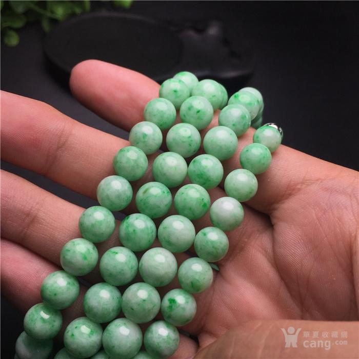 玉泉文玩V617回流老库存白底青飘阳绿翡翠圆珠项链