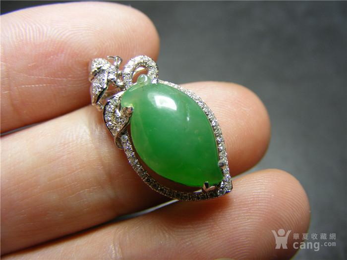 八九十年代18K白金镶天然钻石A货冰种满正阳绿翡翠小瓜果坠