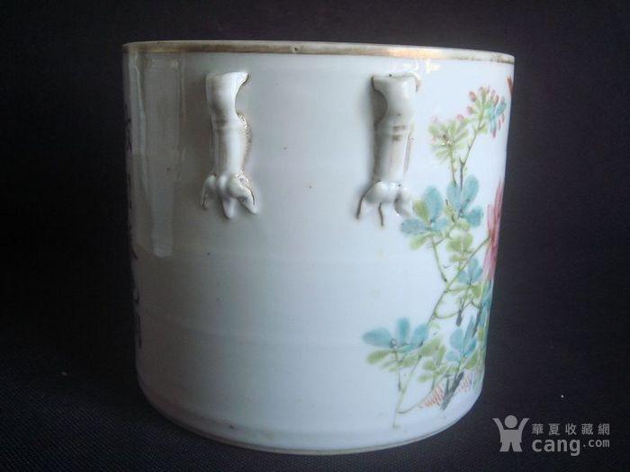 清晚茂兴氏作花鸟竹节罐。