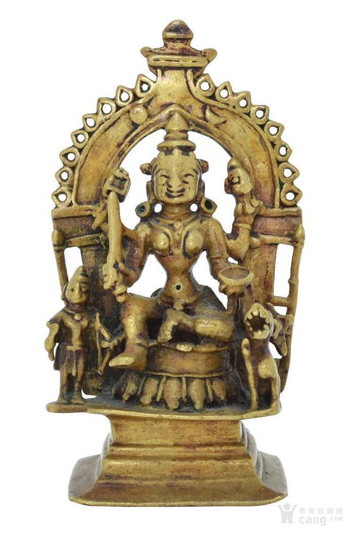 铜鎏金杜尔迦像印度