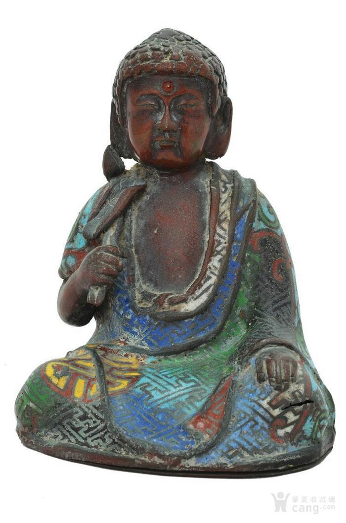 明治日本珐琅铜佛像