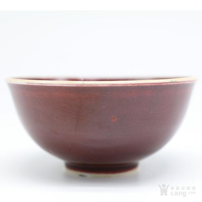 清晚期 仿郎窑红釉碗