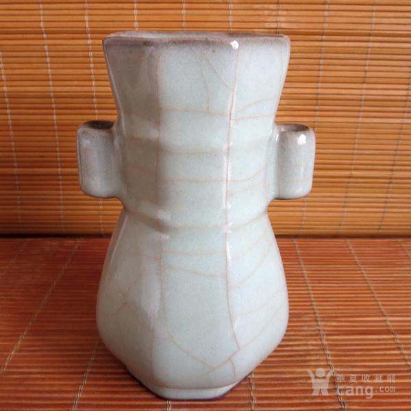 哥窑花瓶 金丝铁线六方瓶图1