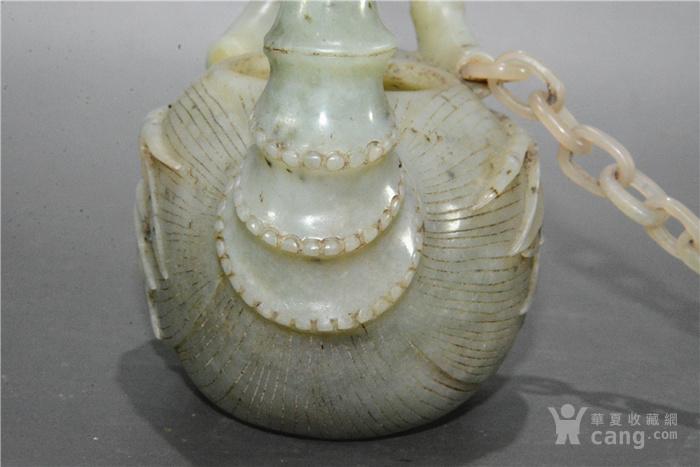 清代竹节纹和田玉壶