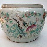 清代同治年制通身绘粉彩花鸟罐