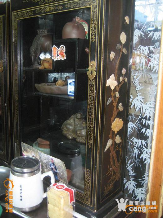 大漆描金嵌玉石茶柜两只