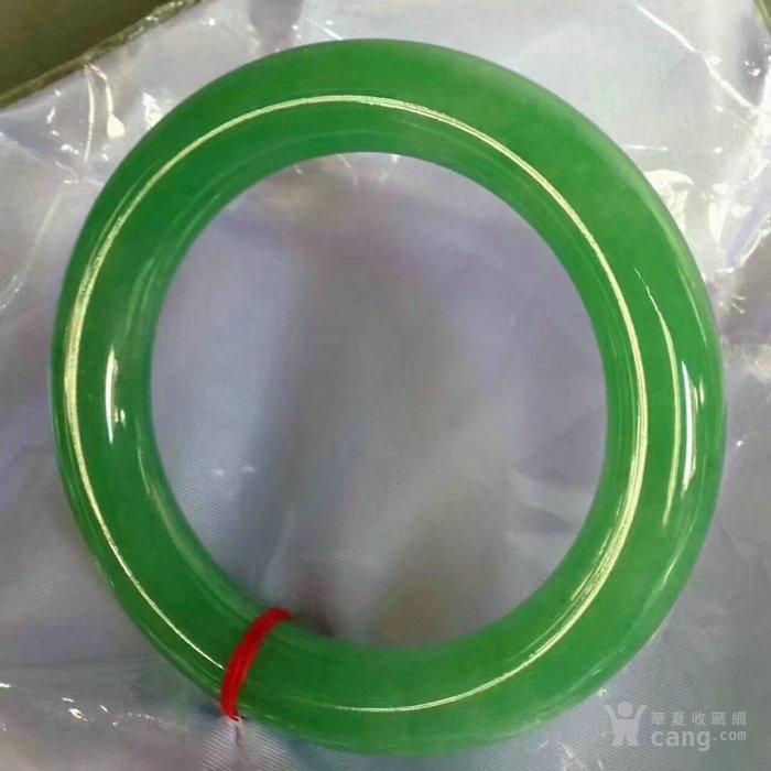 缅甸翡翠满绿正圈圆条手镯KLD