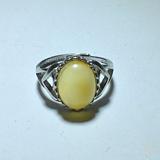 天然 鸡油黄蜜蜡 925银 戒指 活口
