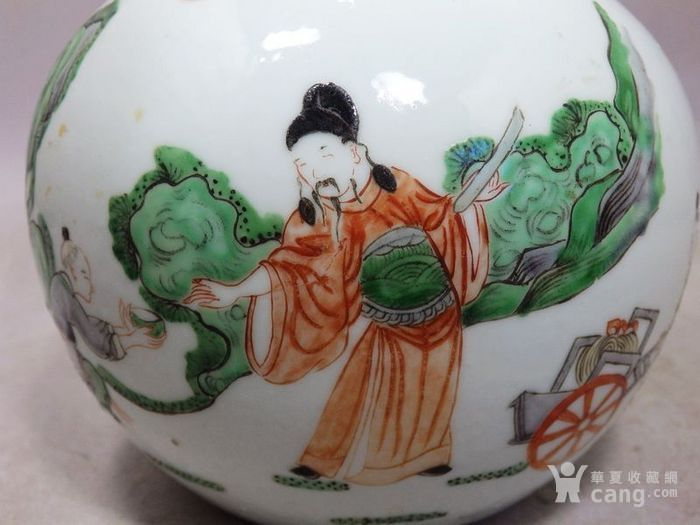 清代五彩人物绘画天球瓶
