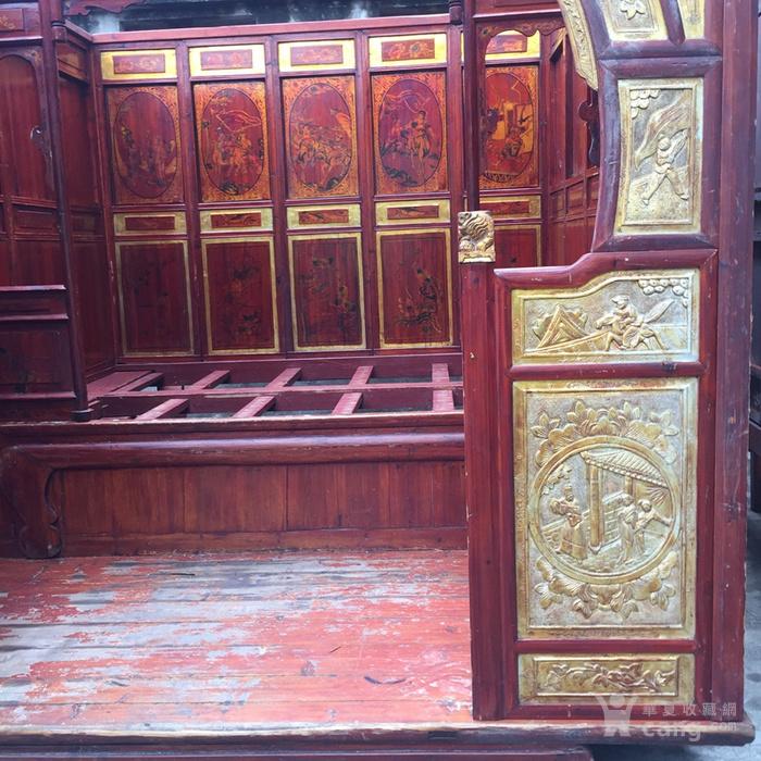 古旧鎏金雕刻二进床拔步床千工床