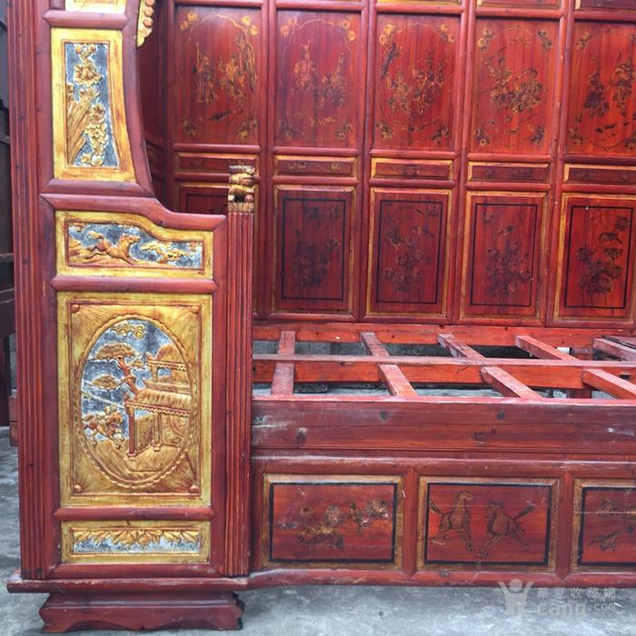 古旧鎏金雕刻单进床架子床千工床