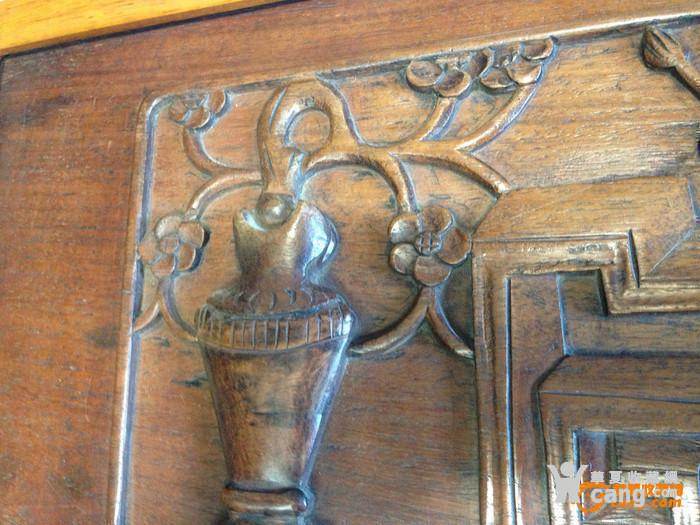 清黄花梨木雕古纹平平安安花板
