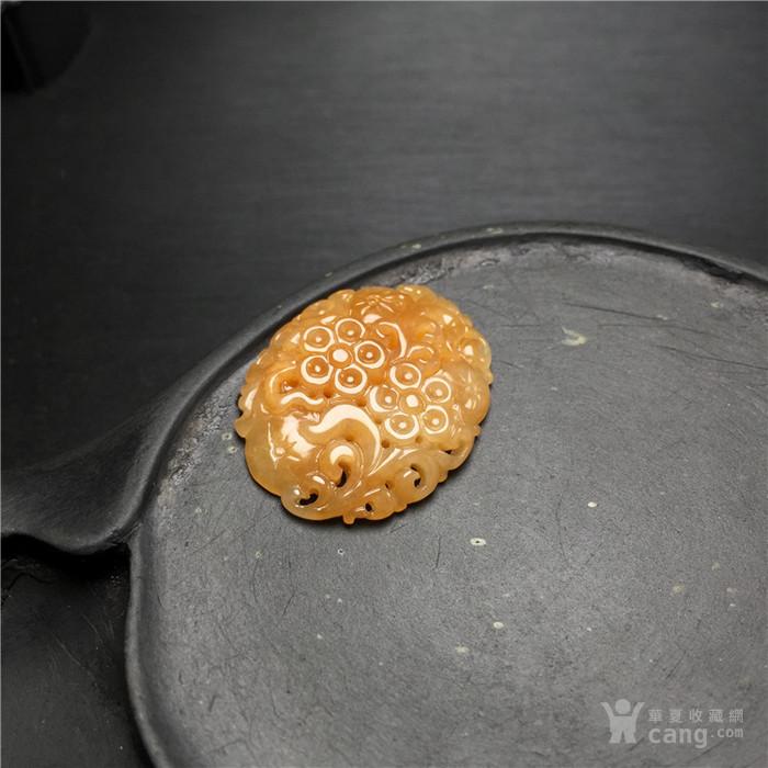 玉泉文玩w20创汇期天然黄翡翡翠缠枝花戒面镶嵌件