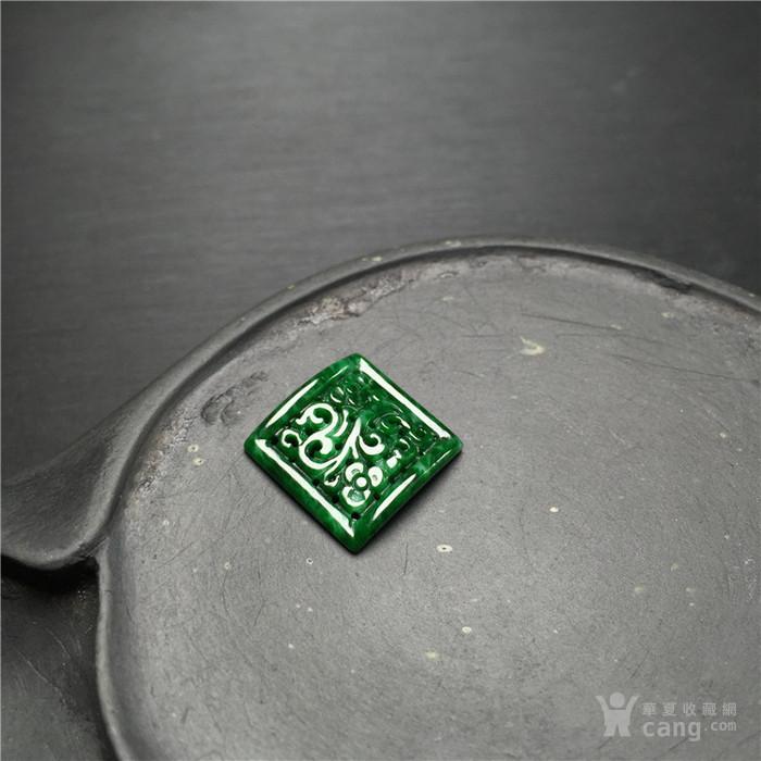 玉泉文玩W22创汇期豆种满绿翡翠缠枝花戒面镶嵌件