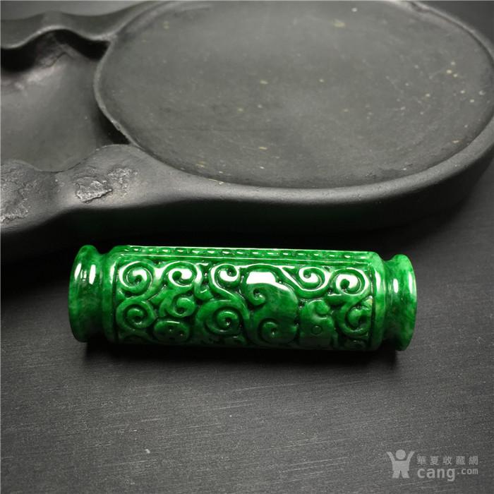 玉泉文玩W26创汇期糯冰种满绿翡翠螭龙如意长勒子吊坠
