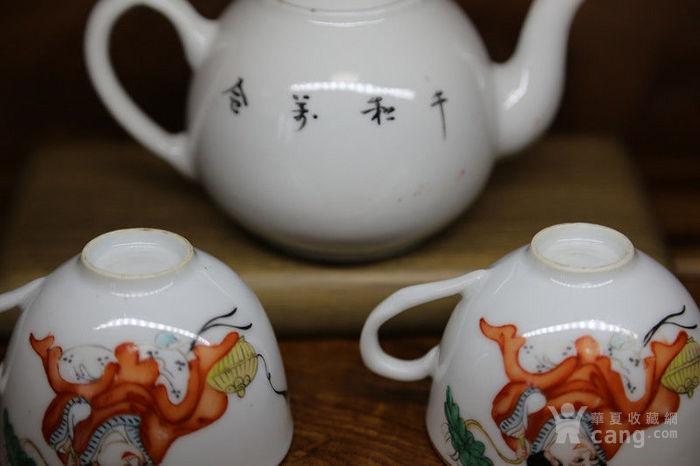 晚清民国时期细路粉彩和合二仙茶壶一套