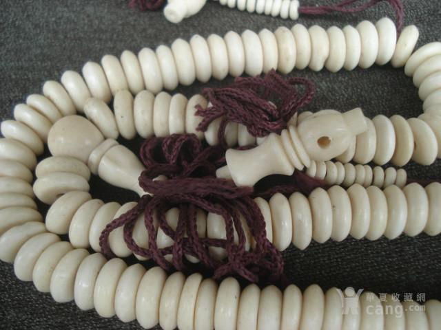 扁形骨质佛珠挂件一串