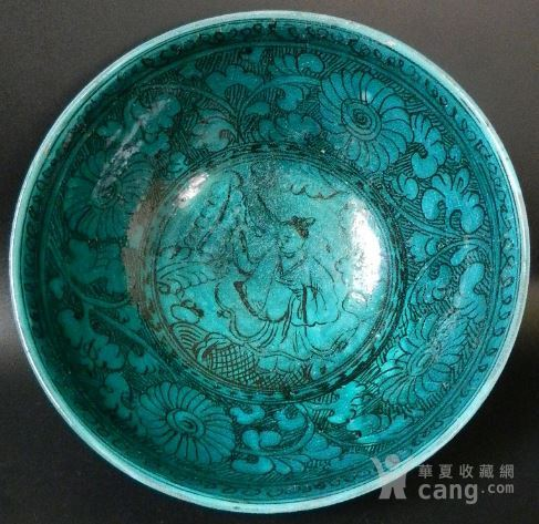 元孔雀蓝釉下黑彩人物纹碗