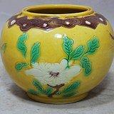 清代素三彩花卉绘画水盂